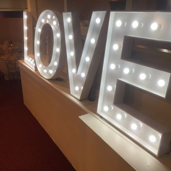 Engagement party LOVE letter hire