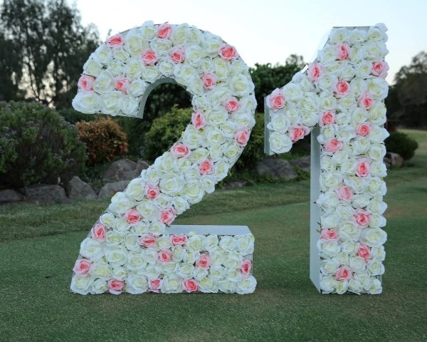 Flowers embedded giant letter 21 hire