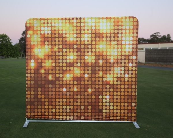 photo booth hire gold backdrop