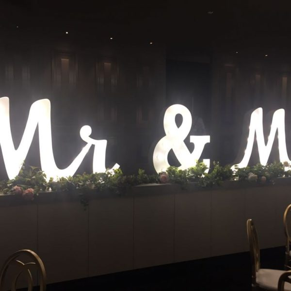 Mr & Mrs LED Lights Letters hire