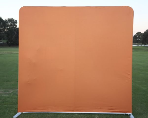 photo booth hire orange backdrop